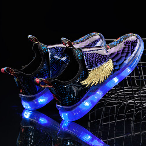LED Light Up Shoes Kids Boys Girls Flashing Wings Sneakers