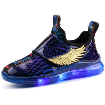 LED Light Up Shoes Kids Boys Girls 3 Colors Flashing Wings Sneakers