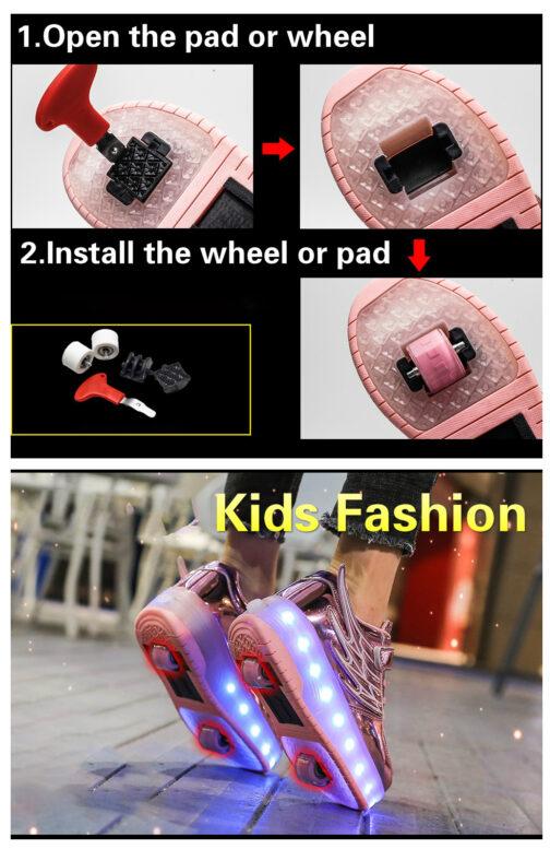 Light Up Shoes Boys Girls Kids Roller Skates Sneakers USB Charge LED Wheeled Skate 23