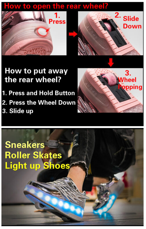 Light Up Shoes Boys Girls Kids Roller Skates Sneakers USB Charge LED Wheeled Skate 24