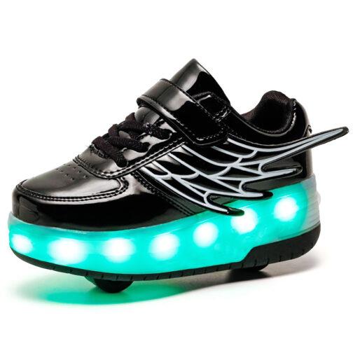 Light Up Shoes Boys Girls Kids Roller Skates Sneakers USB Charge LED Wheeled Skate