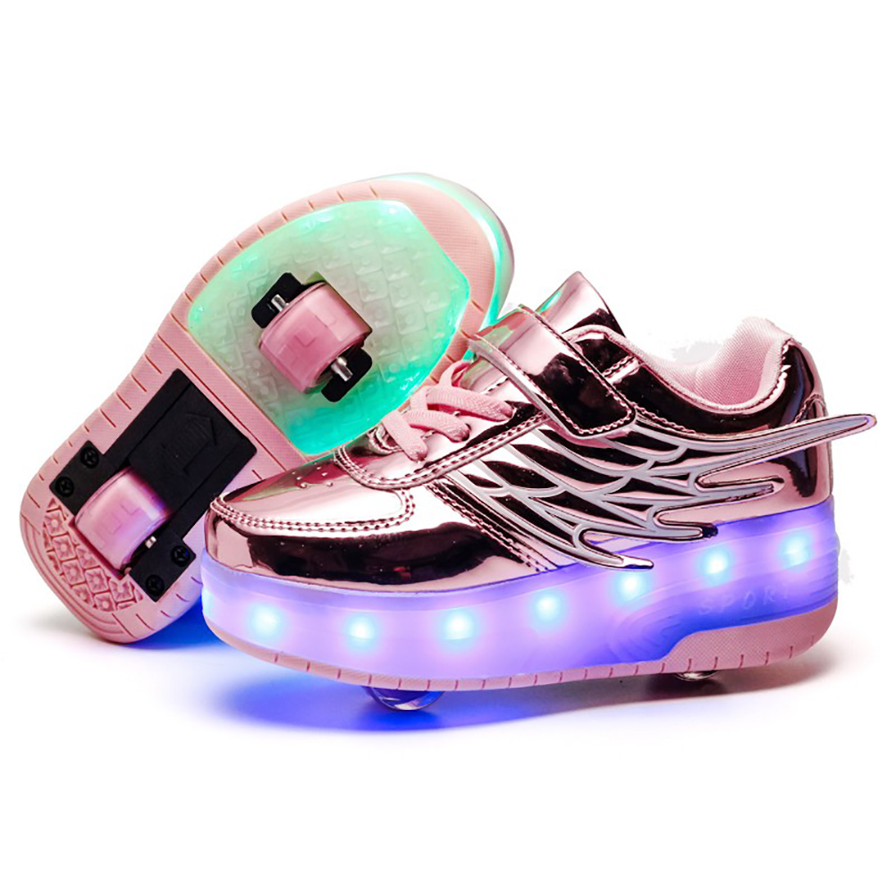 laideqi Kids Low LED Skateboard Shoes Light Up USB Sneakers for Toddler Boys Girls