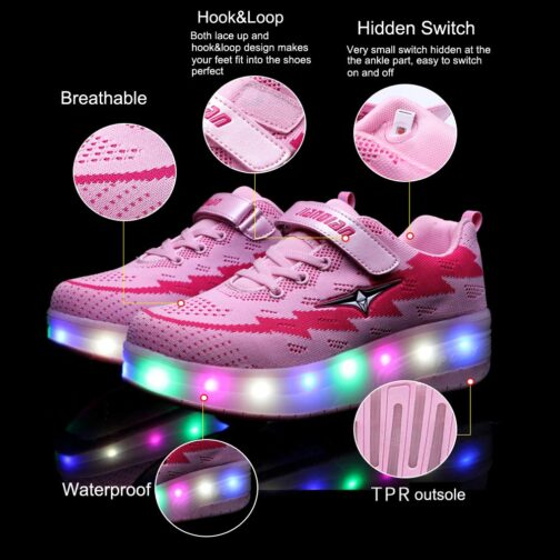 Roller Skates Boys Girls Kids Led Light Up Shoes Sneakers Skating Shoes for Beginners 13