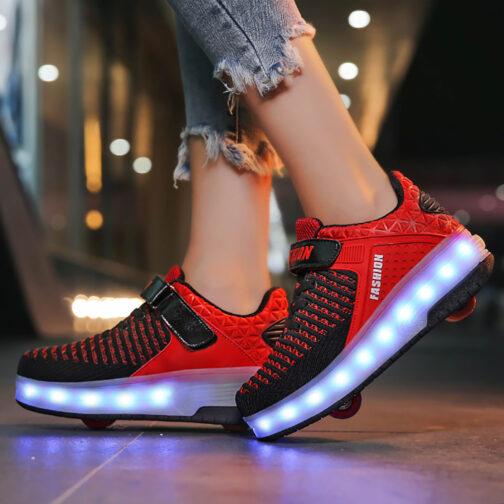 Roller Skates Boys Girls Kids Light Up Shoes USB Charge LED Wheeled Skate Sneakers 1