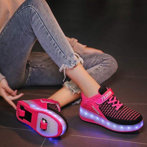 Roller Skates Boys Girls Kids Light Up Shoes USB Charge LED Wheeled Skate Sneakers 10