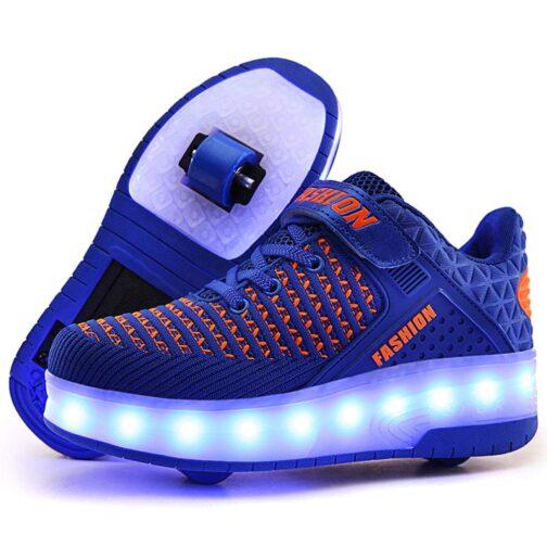 Roller Skates Boys Girls Kids Light Up Shoes USB Charge LED Wheeled Skate Sneakers 11
