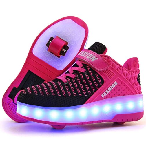 Roller Skates Boys Girls Kids Light Up Shoes USB Charge LED Wheeled Skate Sneakers 12