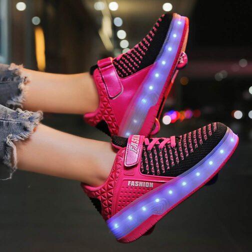 Roller Skates Boys Girls Kids Light Up Shoes USB Charge LED Wheeled Skate Sneakers 14