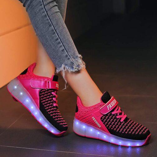 Roller Skates Boys Girls Kids Light Up Shoes USB Charge LED Wheeled Skate Sneakers 15