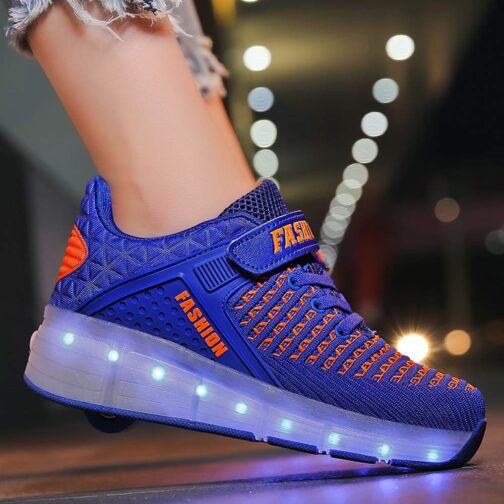 Roller Skates Boys Girls Kids Light Up Shoes USB Charge LED Wheeled Skate Sneakers 16