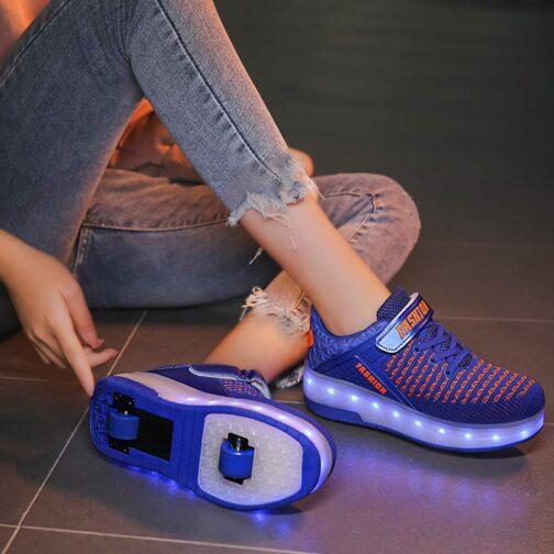 Roller Skates Boys Girls Kids Light Up Shoes USB Charge LED Wheeled Skate Sneakers 18