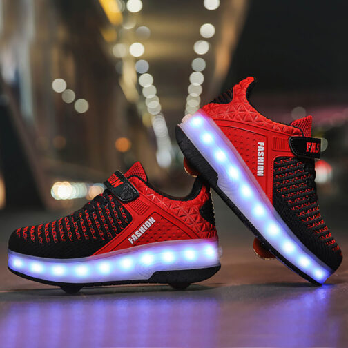 Roller Skates Boys Girls Kids Light Up Shoes USB Charge LED Wheeled Skate Sneakers 2