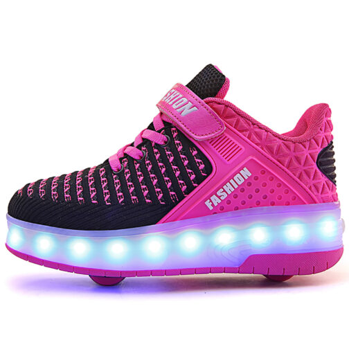 Roller Skates Boys Girls Kids Light Up Shoes USB Charge LED Wheeled Skate Sneakers 21