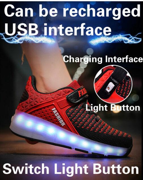 Roller Skates Boys Girls Kids Light Up Shoes USB Charge LED Wheeled Skate Sneakers 22