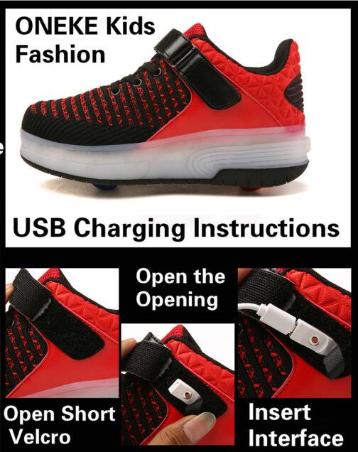 Roller Skates Boys Girls Kids Light Up Shoes USB Charge LED Wheeled Skate Sneakers 23