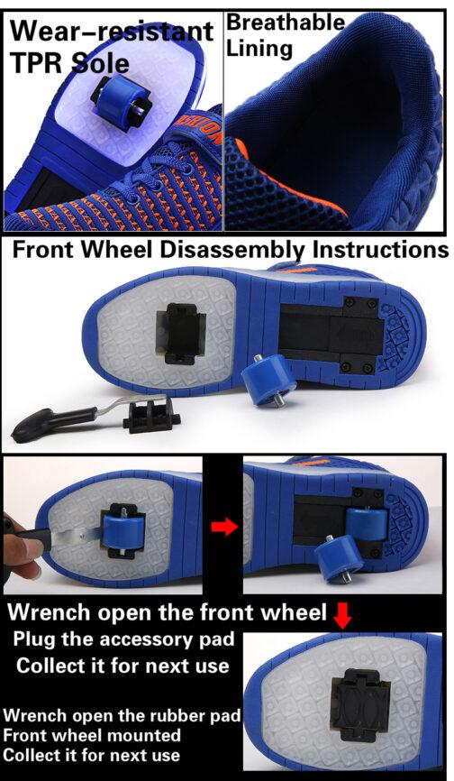 Roller Skates Boys Girls Kids Light Up Shoes USB Charge LED Wheeled Skate Sneakers 24