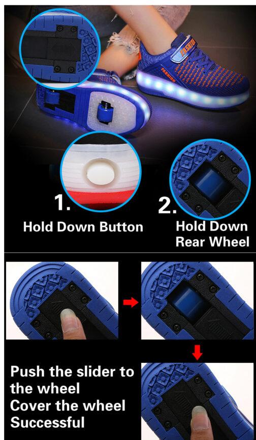 Roller Skates Boys Girls Kids Light Up Shoes USB Charge LED Wheeled Skate Sneakers 25