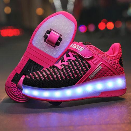 Roller Skates Boys Girls Kids Light Up Shoes USB Charge LED Wheeled Skate Sneakers 3