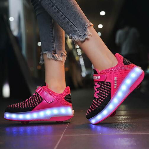 Roller Skates Boys Girls Kids Light Up Shoes USB Charge LED Wheeled Skate Sneakers 4