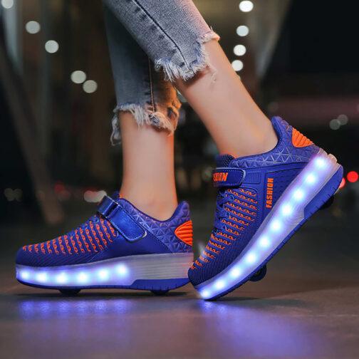 Roller Skates Boys Girls Kids Light Up Shoes USB Charge LED Wheeled Skate Sneakers 5