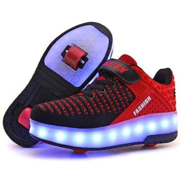 Roller Skates Boys Girls Kids Light Up Shoes USB Charge LED Wheeled Skate Sneakers