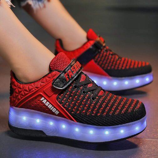 Roller Skates Boys Girls Kids Light Up Shoes USB Charge LED Wheeled Skate Sneakers 7