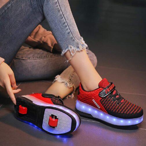 Roller Skates Boys Girls Kids Light Up Shoes USB Charge LED Wheeled Skate Sneakers 8