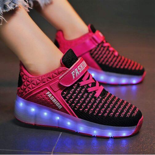Roller Skates Boys Girls Kids Light Up Shoes USB Charge LED Wheeled Skate Sneakers 9