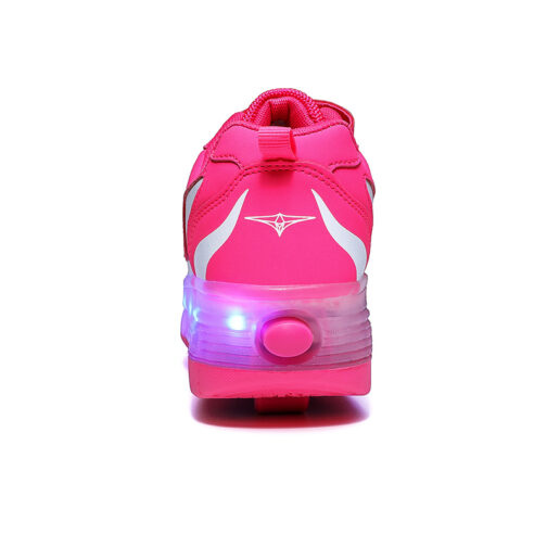 Roller Skates Boys Girls Kids Light Up Shoes USB Charge LED Wheeled Sneakers 12