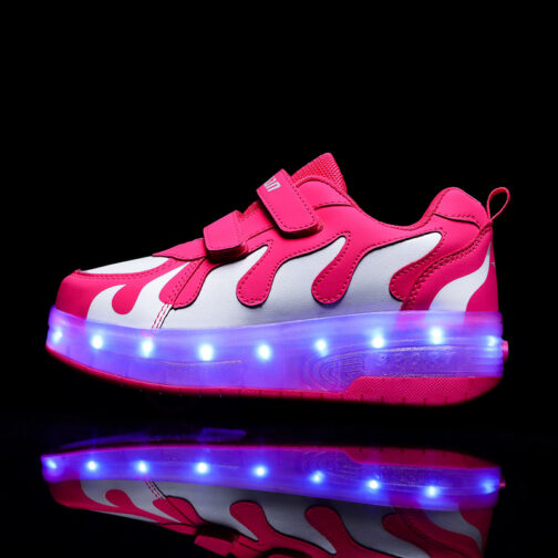 Roller Skates Boys Girls Kids Light Up Shoes USB Charge LED Wheeled Sneakers 14