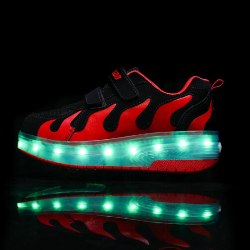 Roller Skates Boys Girls Kids Light Up Shoes USB Charge LED Wheeled Sneakers 18