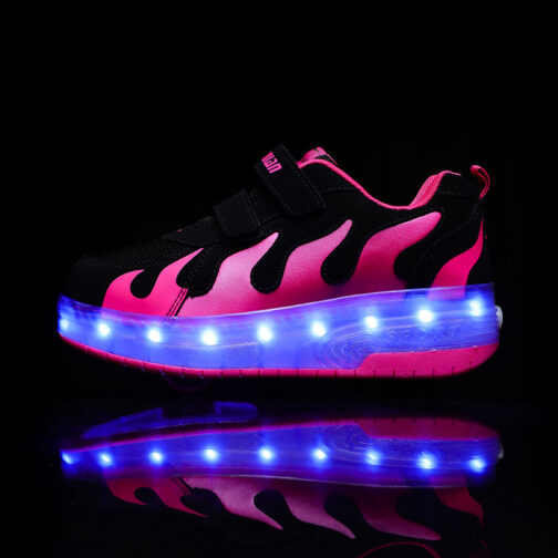 Roller Skates Boys Girls Kids Light Up Shoes USB Charge LED Wheeled Sneakers 22