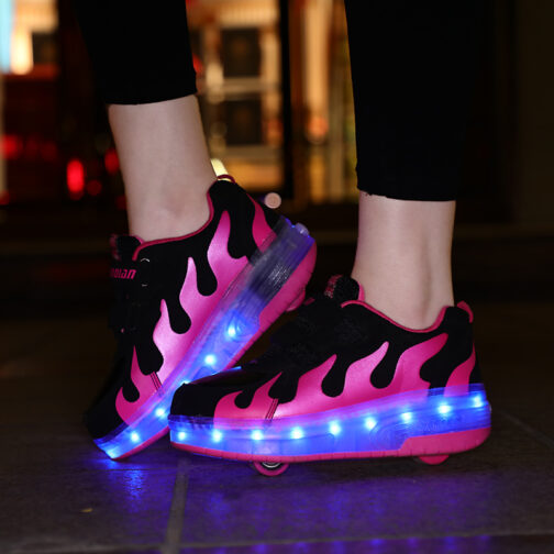 Roller Skates Boys Girls Kids Light Up Shoes USB Charge LED Wheeled Sneakers