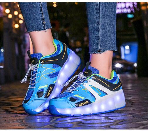 Roller Skates Boys Girls Kids Light Up Shoes Sneakers USB Charge LED Wheeled Skate