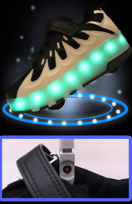Roller Skates Boys Girls Kids Light Up Shoes USB Charge LED Wheeled Skate Flame Sneakers