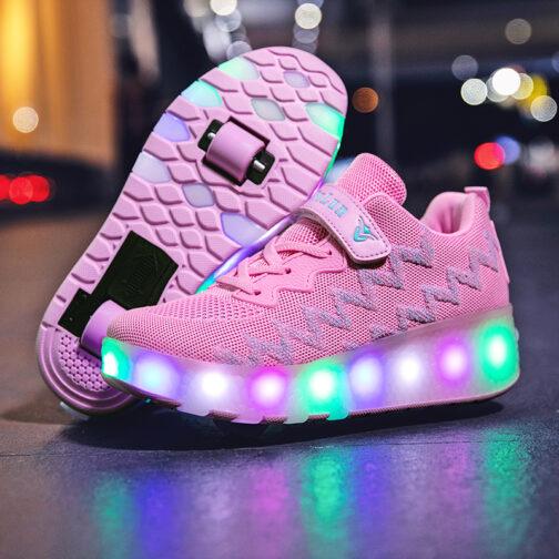Roller Skates Girls Boys Kids Light Up Shoes Sneakers USB Charge LED Wheeled Skate