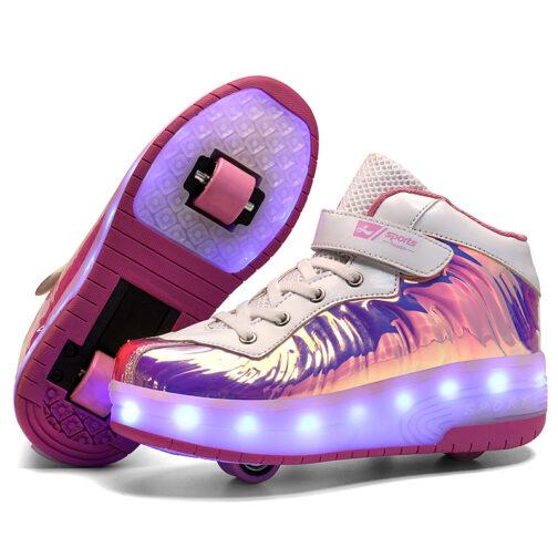 Roller Skates Kids Girls Boys Light Up Shoes USB Charge LED Wheeled Skate Sneakers