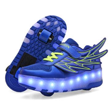 Roller Skates Boys Girls Kids Light Up Shoes USB Charge LED Wheeled Skate Wing Sneakers