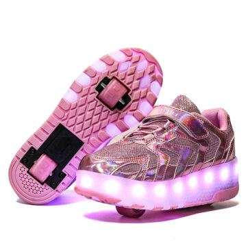 Roller Skates Kids Girls Boys Light Up Shoes Sneakers USB Charge LED Wheeled Skate