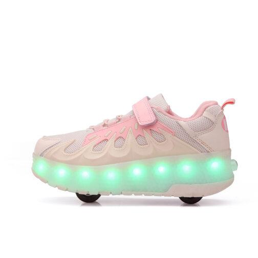 Roller Skates Boys Girls Kids Light Up Shoes USB Charge LED Wheeled Skate Flame Sneakers 1