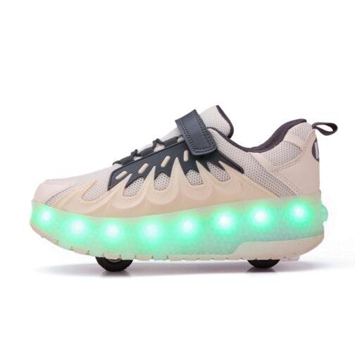 Roller Skates Boys Girls Kids Light Up Shoes USB Charge LED Wheeled Skate Flame Sneakers 3