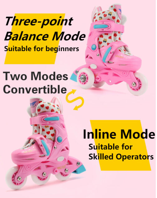 Roller Skates Kids Boys Girls Adjustable Multi Function Convertible Skating Shoes Beginners Inline Skates 10