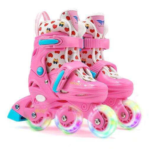 Roller Skates Kids Boys Girls Adjustable Multi-Function Convertible Skating Shoes Beginners Inline Skates