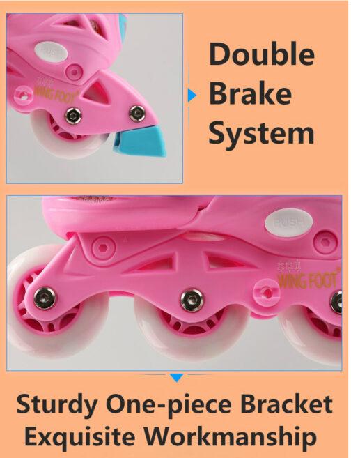 Roller Skates Kids Boys Girls Adjustable Multi Function Convertible Skating Shoes Beginners Inline Skates 5