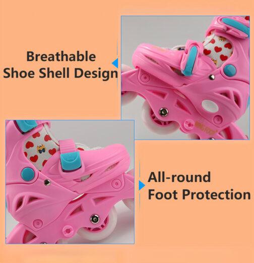 Roller Skates Kids Boys Girls Adjustable Multi Function Convertible Skating Shoes Beginners Inline Skates 6