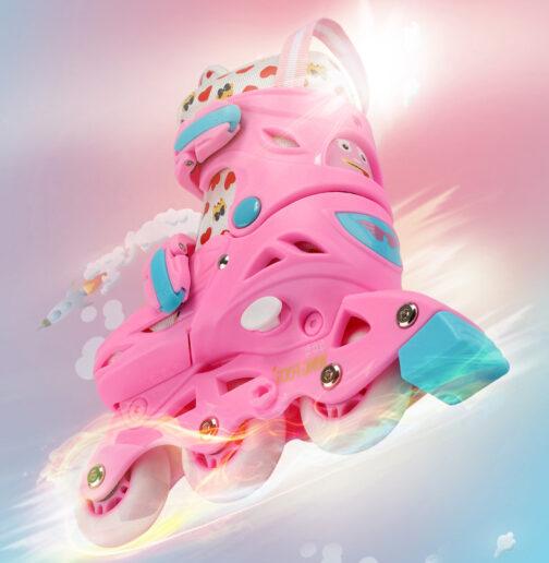 Roller Skates Kids Boys Girls Adjustable Multi Function Convertible Skating Shoes Beginners Inline Skates 9
