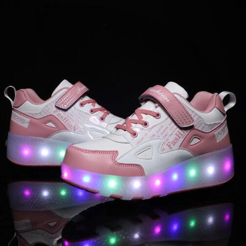 Light Up Shoes Boys Girls Kids Roller Skates USB Charge LED Wheeled Skate Sneakers