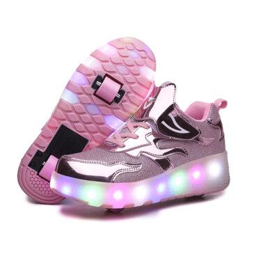 Light Up Shoes Kids Boys Girls Roller Skates USB Charge LED Wheeled Skate Sneakers