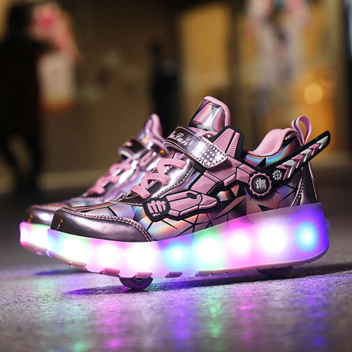 Roller Skates Boys Girls Kids Light Up Shoes Wheeled Skate USB Charge LED Sneakers 10 1