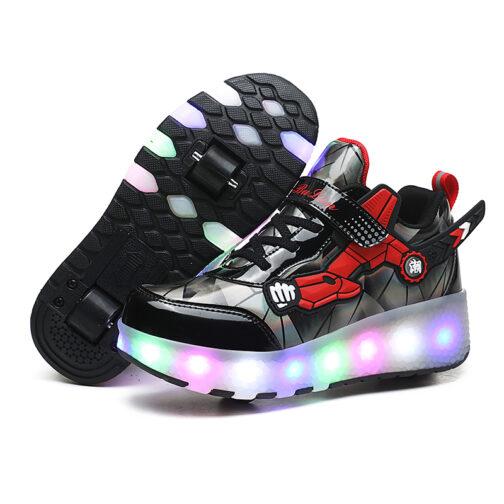 Roller Skates Boys Girls Kids Light Up Shoes Wheeled Skate USB Charge LED Sneakers
